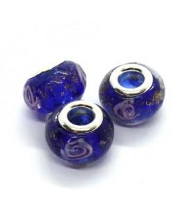 Perle lampwork style pandora bleu foncé