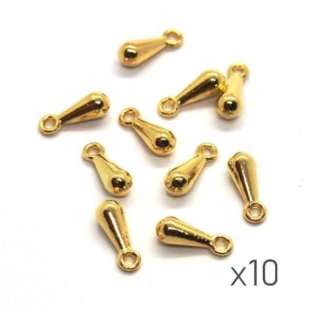 10 Breloques mini goutte 9mm dorées