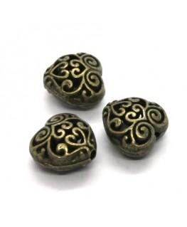 Perle métal coeur ajouré bronze