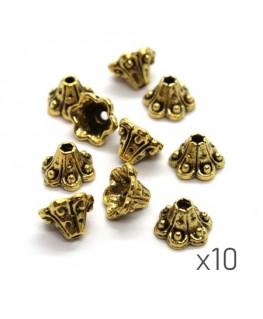 Perles coupelles métal fleur trompette 9mm doré x10