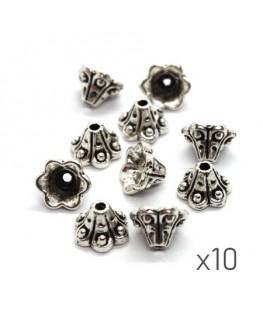 Perles coupelles métal fleur trompette 9mm argent vieilli x10