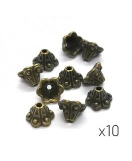 Perles coupelles métal fleur trompette 9mm bronze x10