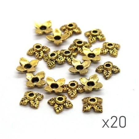 Perles coupelles feuilles 6mm  dorées x10
