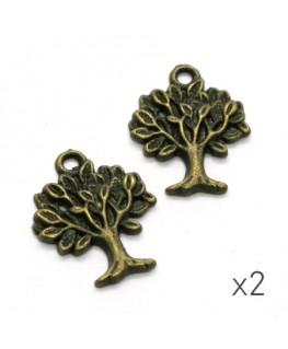 Breloque arbre 22mm bronze x2