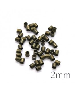 Perles tubes à écraser 2mm bronze x50