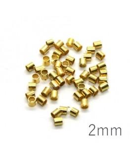 Perles tubes à écraser 2mm doré x50