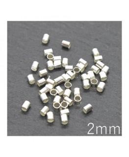 Perles tubes à écraser 2mm argenté x50