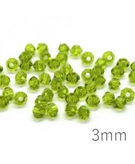 Perles toupies verre cristal 3mm olivine x50
