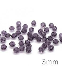 Perles toupies verre cristal 3mm violet x50