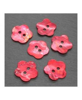 Boutons nacre fleur 18mm rouge x6