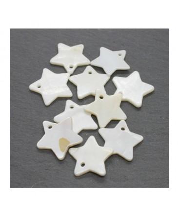 Perles breloques étoiles en nacre 18mm x10