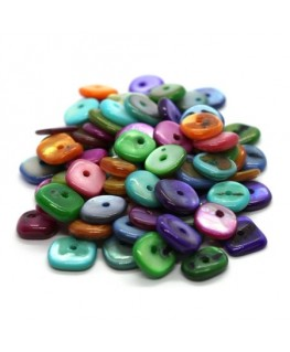 Perles chips de nacre rondes multicolores