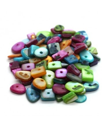 Assortiment perles chips de nacre multicolores 20g