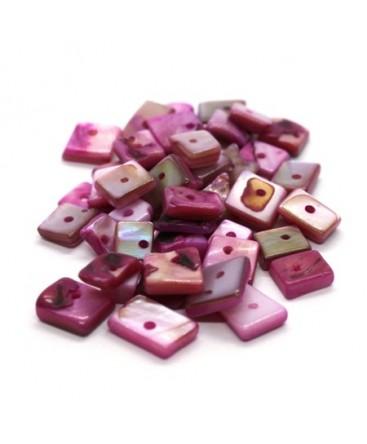Perles chips de nacre carrées fuchsia 10g