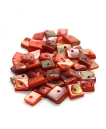 Perles chips de nacre carrées saumon 10g