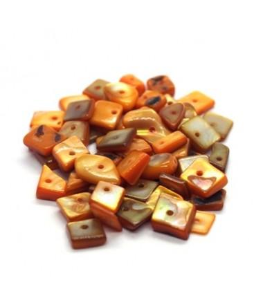 Perles chips de nacre carrées orange 10g