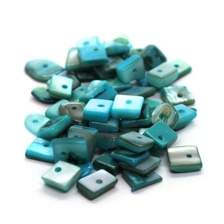 Perles chips de nacre carrées turquoise 10g