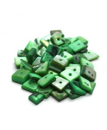 Perles chips de nacre carrées vert 10g