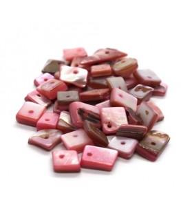 Perles chips de nacre carrées rose clair 10g