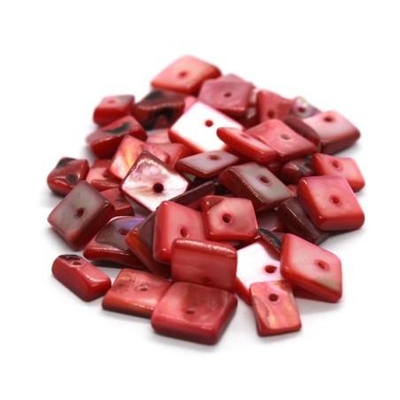 Perles chips de nacre carrées rose foncé 10g