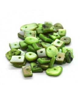 Perles chips de nacre assortiment vert clair 10g