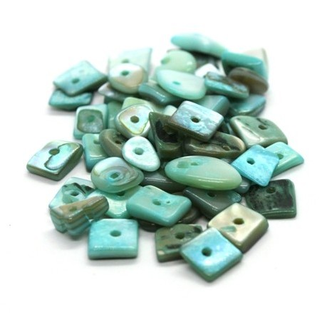 Perles chips de nacre assortiment aquamarine 10g