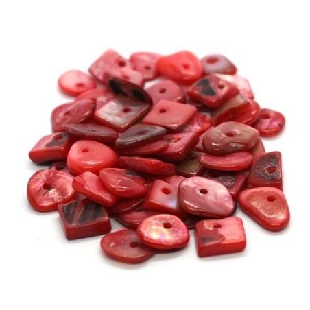 Perles chips de nacre assortiment rose foncé 10g