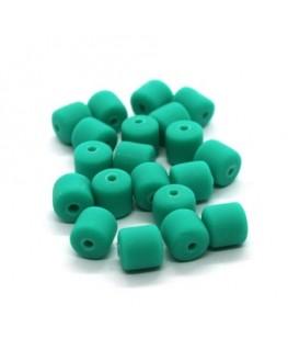 Perles fimo tonneau 6mm vert menthe x20