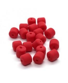 Perles fimo tonneau 6mm rouge x20