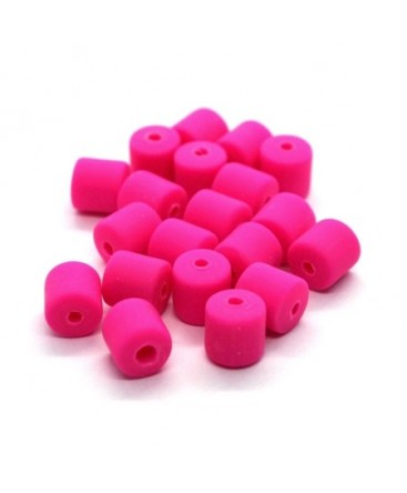 Perles fimo tonneau 6mm rose vif x20