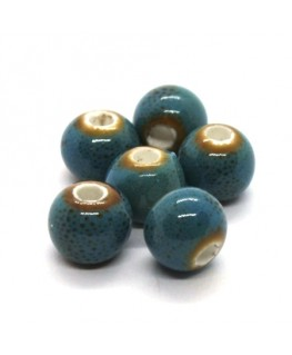 Perle céramique ronde 8mm bleu moucheté