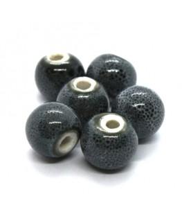 Perle céramique ronde 10mm gris moucheté