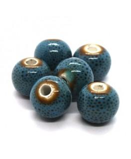 Perle céramique ronde 10mm bleu moucheté