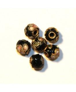 10 Perles cloisonnées rondes 6mm noir