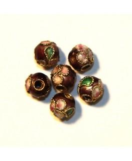 10 Perles cloisonnées rondes 6mm prune