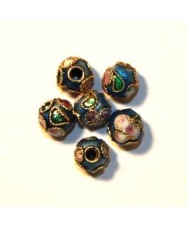 10 Perles cloisonnées rondes 6mm bleu clair