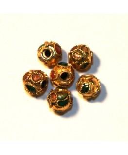 10 Perles cloisonnées rondes 6mm or