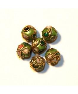 10 Perles cloisonnées rondes 6mm vert clair