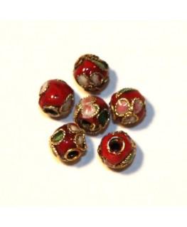 10 Perles cloisonnées rondes 6mm rouge