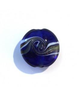 Disque en verre tourbillon bleu marine