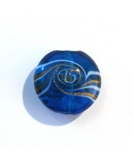 Disque en verre tourbillon turquoise