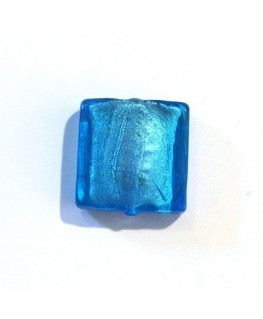 Carré verre feuille d'argent 20mm turquoise