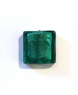 Carré verre feuille d'argent 20mm bleu zircon