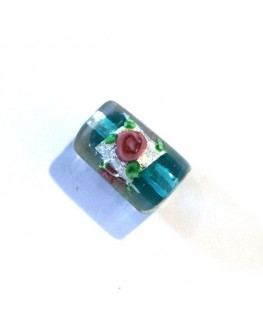 Perle cylindre en verre fleurie bleu zircon