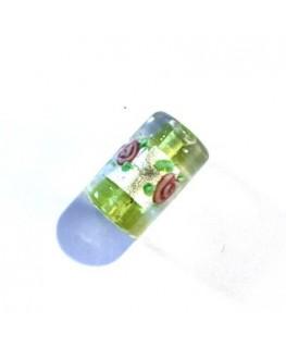 Perle cylindre en verre fleurie vert