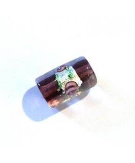 Perle cylindre en verre fleurie améthyste