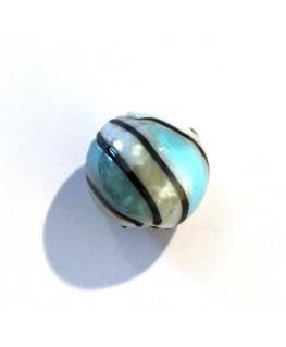 5 Perles rondes en verre blanc 14mm