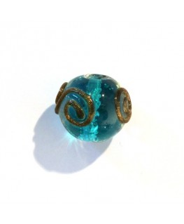 10 Perles rondes Lucky Eye turquoise