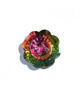 Bouton cristal 25mm vitrail