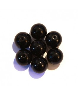 Perles en verre rondes 10mm noir x10